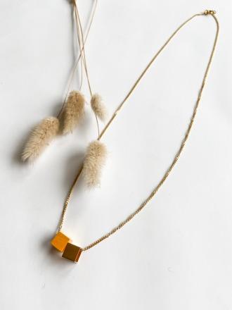 POTIPOTI Accessories Wood Kette gelb/gold 50cm