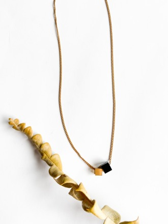 POTIPOTI Accessories Wood Gold Kette short