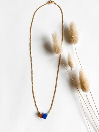 POTIPOTI Accessories Wood Kette short blau/gold