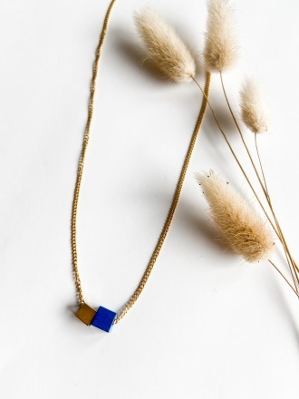 POTIPOTI Accessories Wood Kette marine/gold 50cm