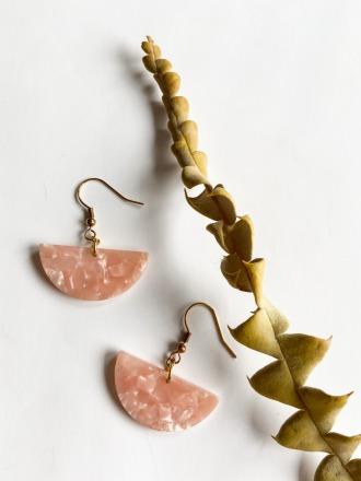 POTIPOTI Accessoires Semi Circle Ohrringe Pink