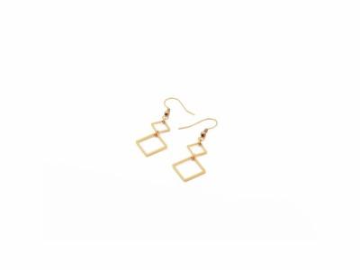 POTIPOTI Ohrringe Viereck vergoldet Handmade in