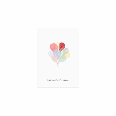 Postkarte - Luftballons - Eulenschnitt