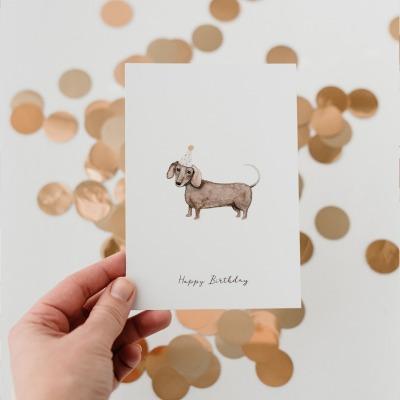 Eulenschnitt - Postkarte - Dackel -