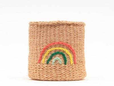 Rainbow Embroidered Woven Storage Basket FAIR