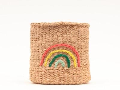 Rainbow Embroidered Woven Storage Basket FAIR
