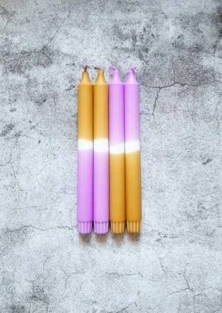 Kerze groß Senf- Lila UNIQUE ARTS