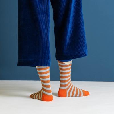 Nice socks block stripes rust NICE