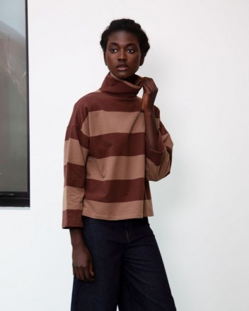 Ula-Sue Organic Cotton Top In Chocolate