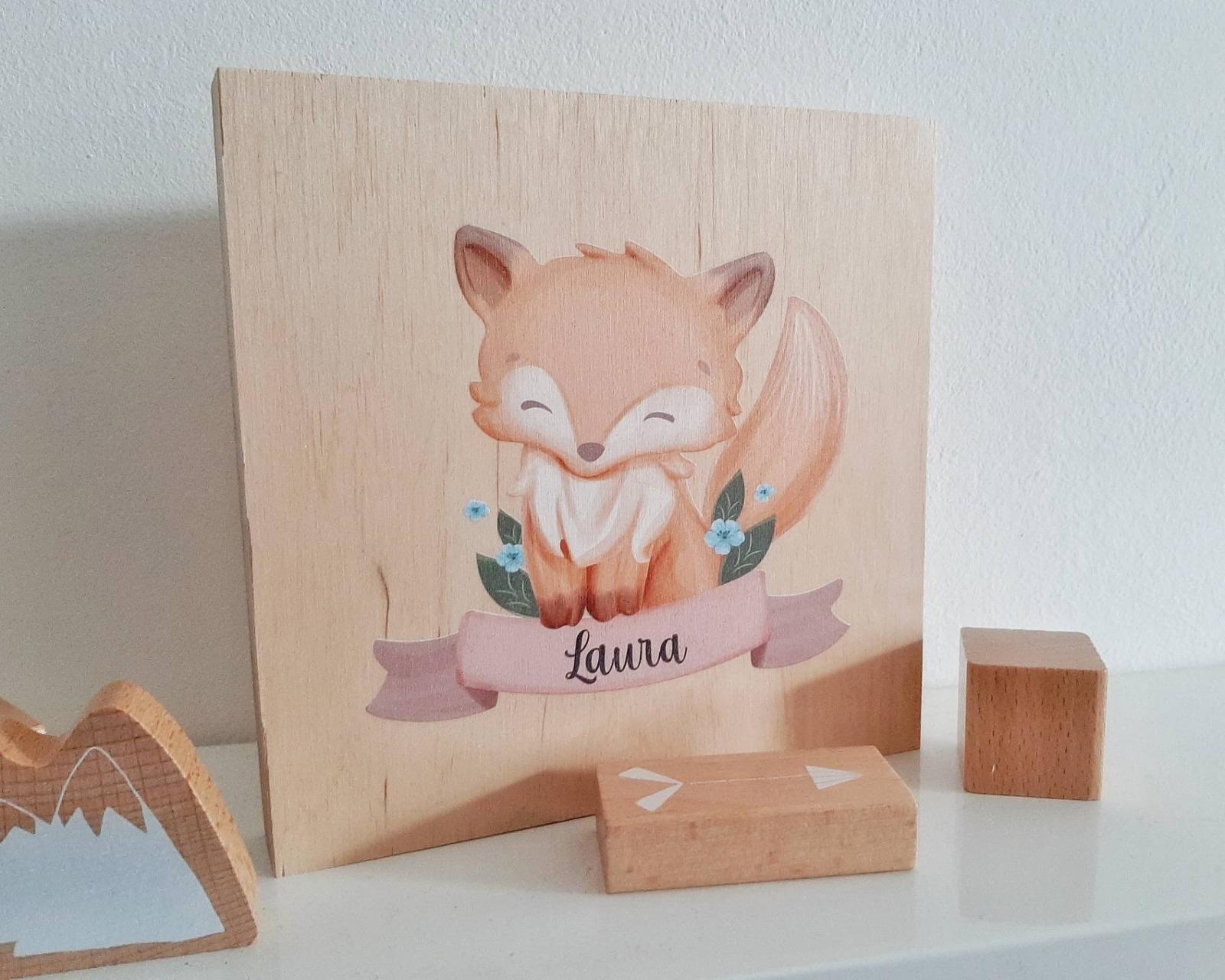 Tier-Bild mit Kindernamen personalisiert