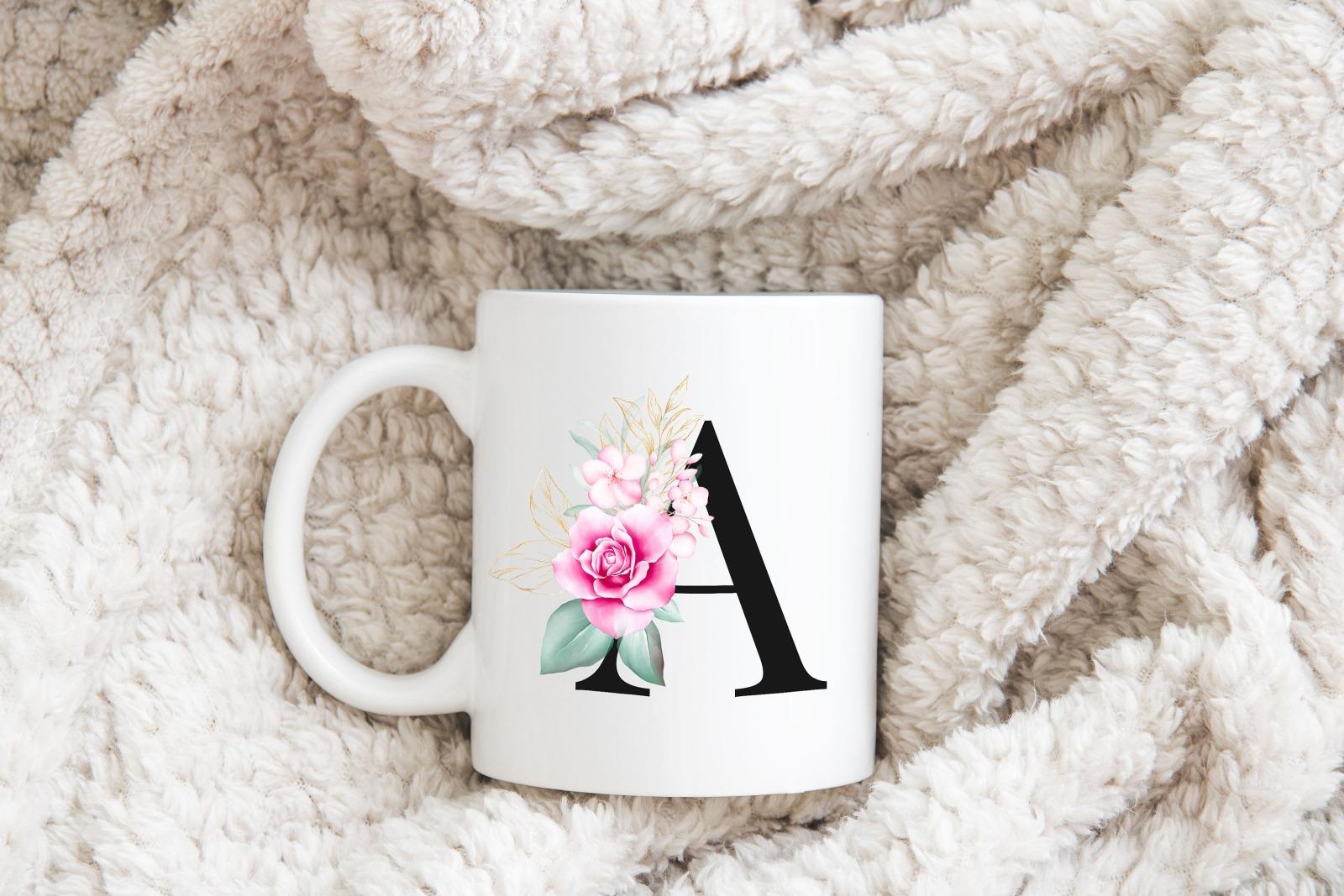Buchstabentasse Kaffee-Tasse mit Pink-Flower Buchstabe 2