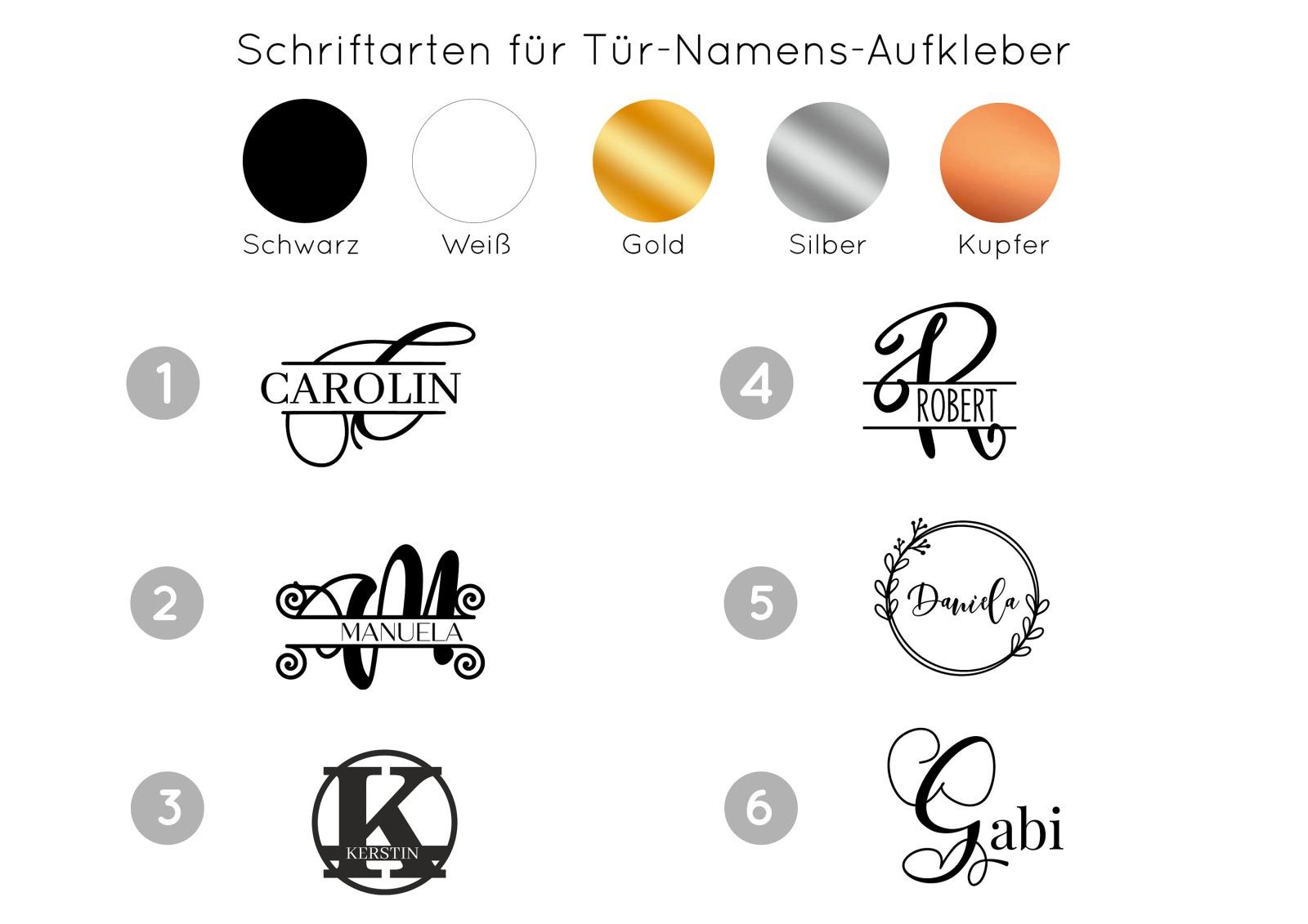 Türaufkleber Monogramm mit Namen 7