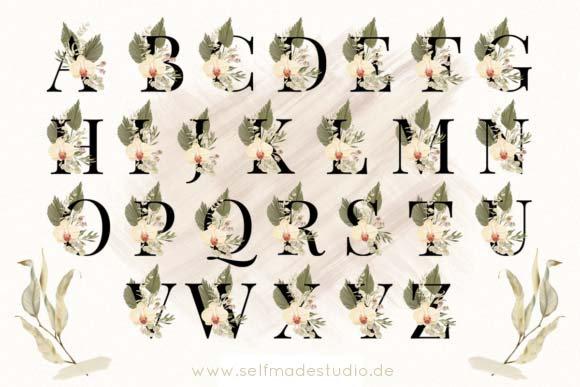 Buchstabentasse mit Blumen Buchstabe Namenstasse personalisiert