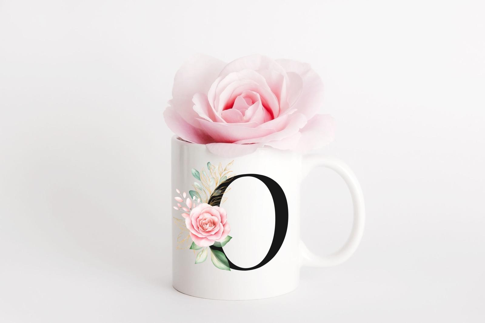 Buchstabentasse Kaffee-Tasse mit Pink-Flower Buchstabe 6
