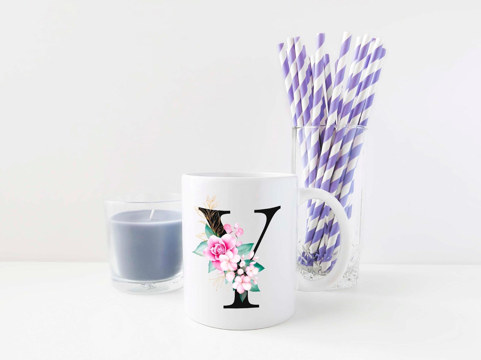 Buchstabentasse Kaffee-Tasse mit Pink-Flower Buchstabe 8
