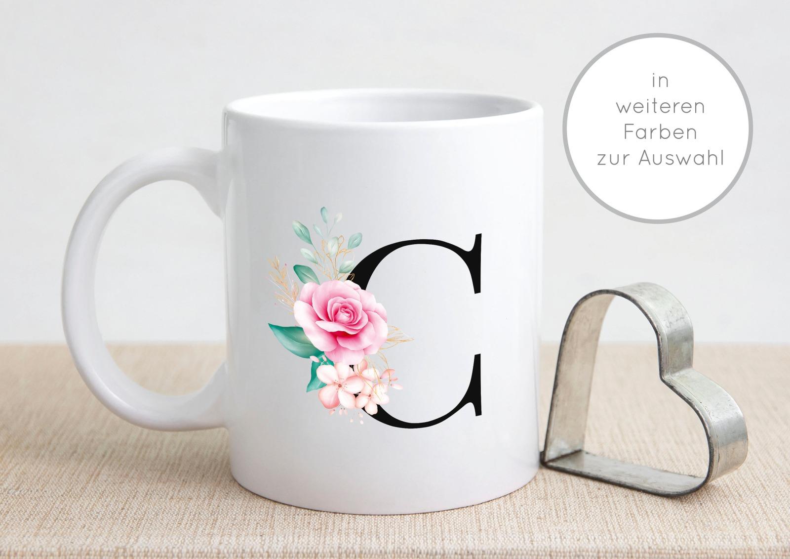 Buchstabentasse Kaffee-Tasse mit Pink-Flower Buchstabe