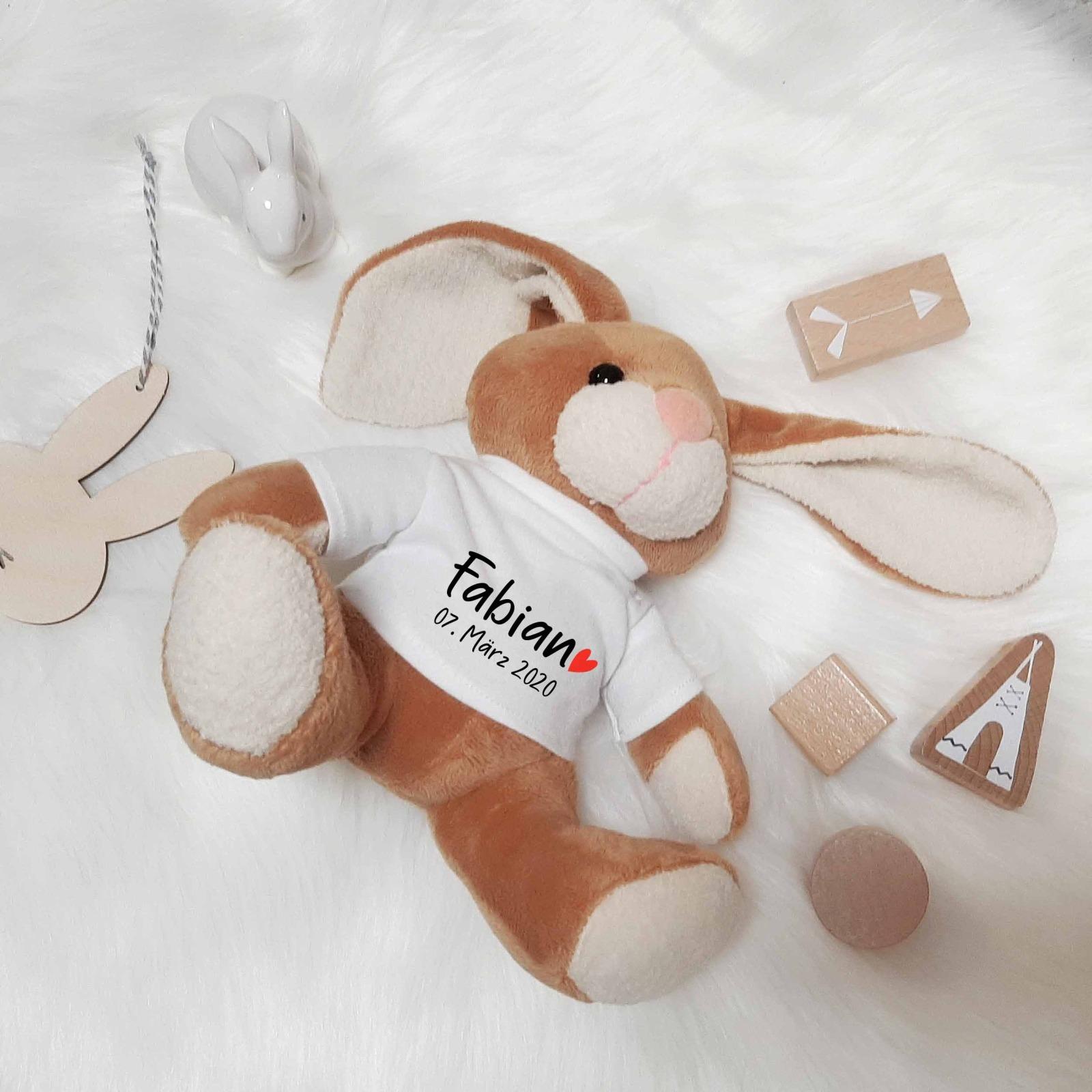 Kuscheltier Hase personalisiert mit Name 3