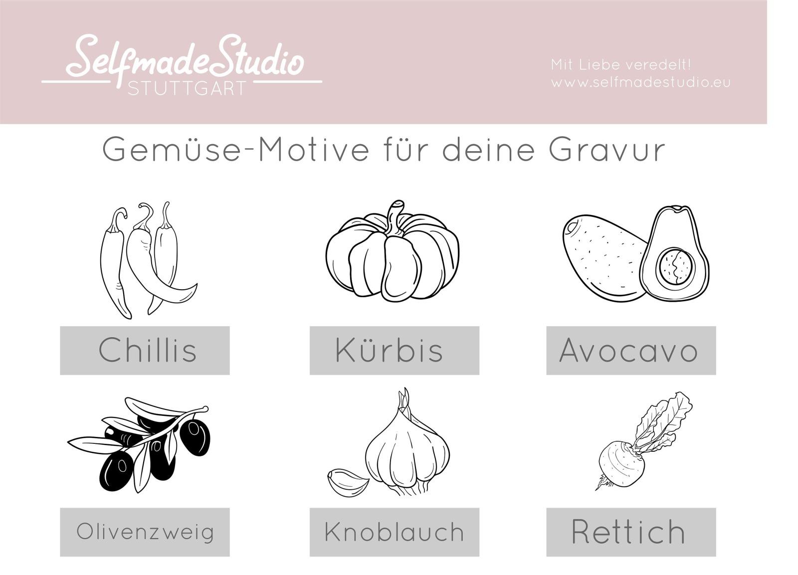 Frühstücksbrettchen Gemüse-Gravur und Namen / Spruch