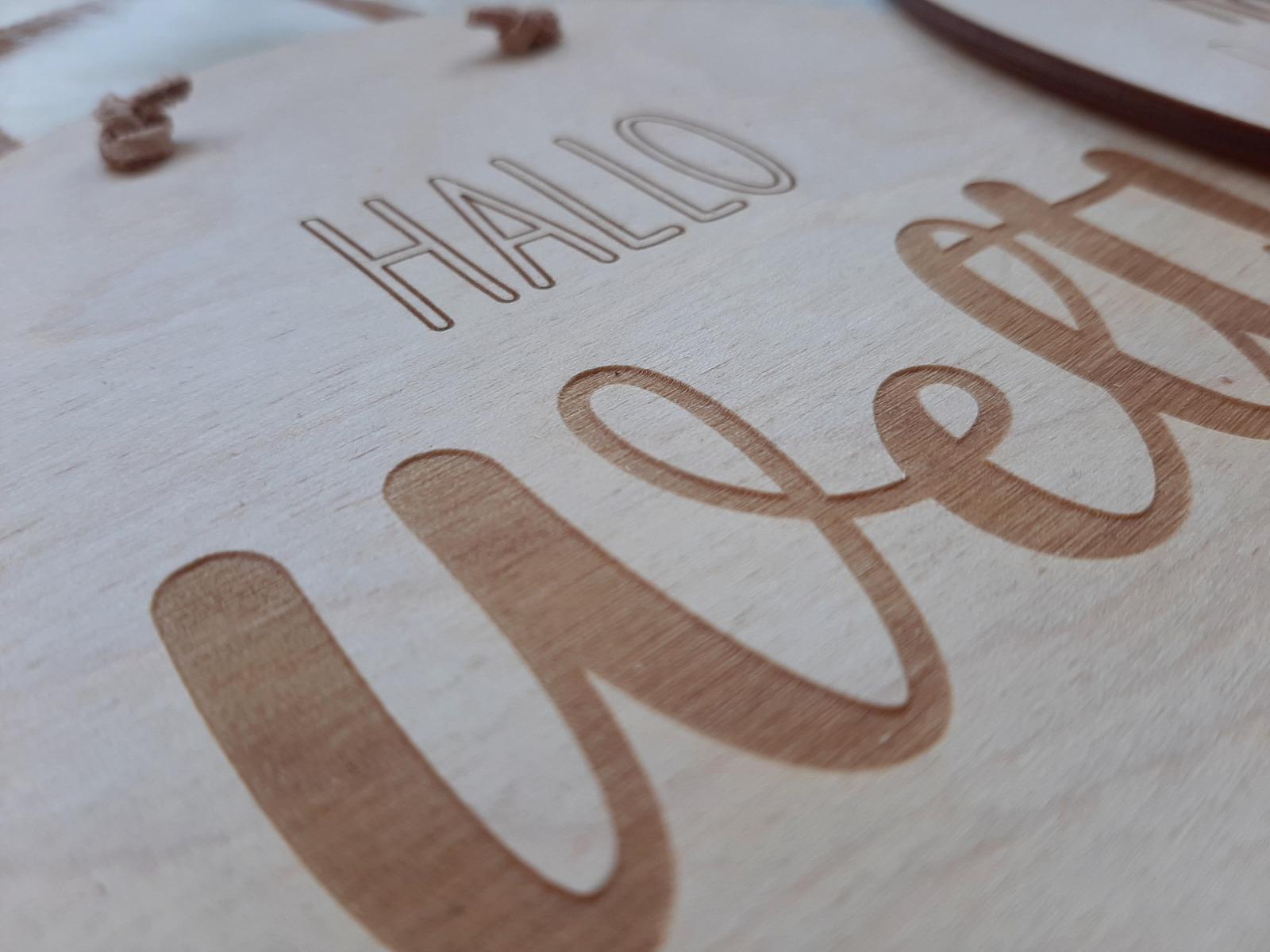 Holzschild Hallo Welt 5