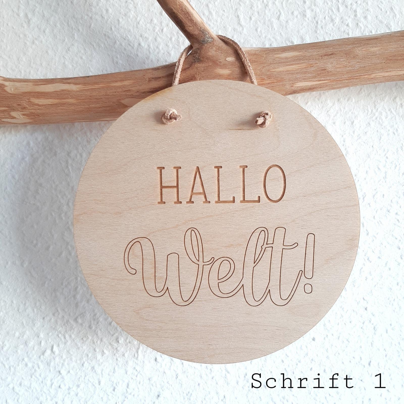 Holzschild Hallo Welt 7