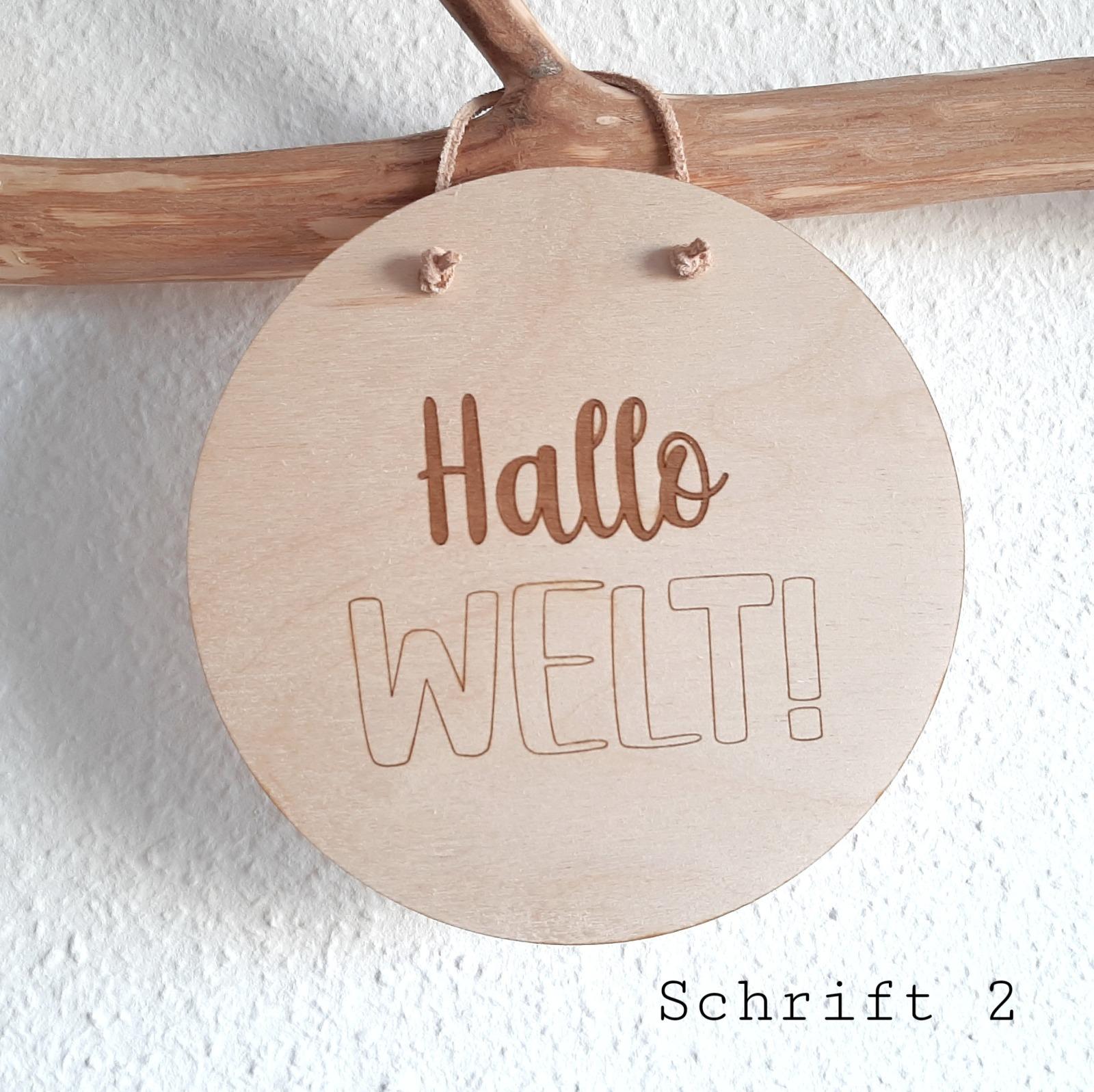 Holzschild Hallo Welt 8
