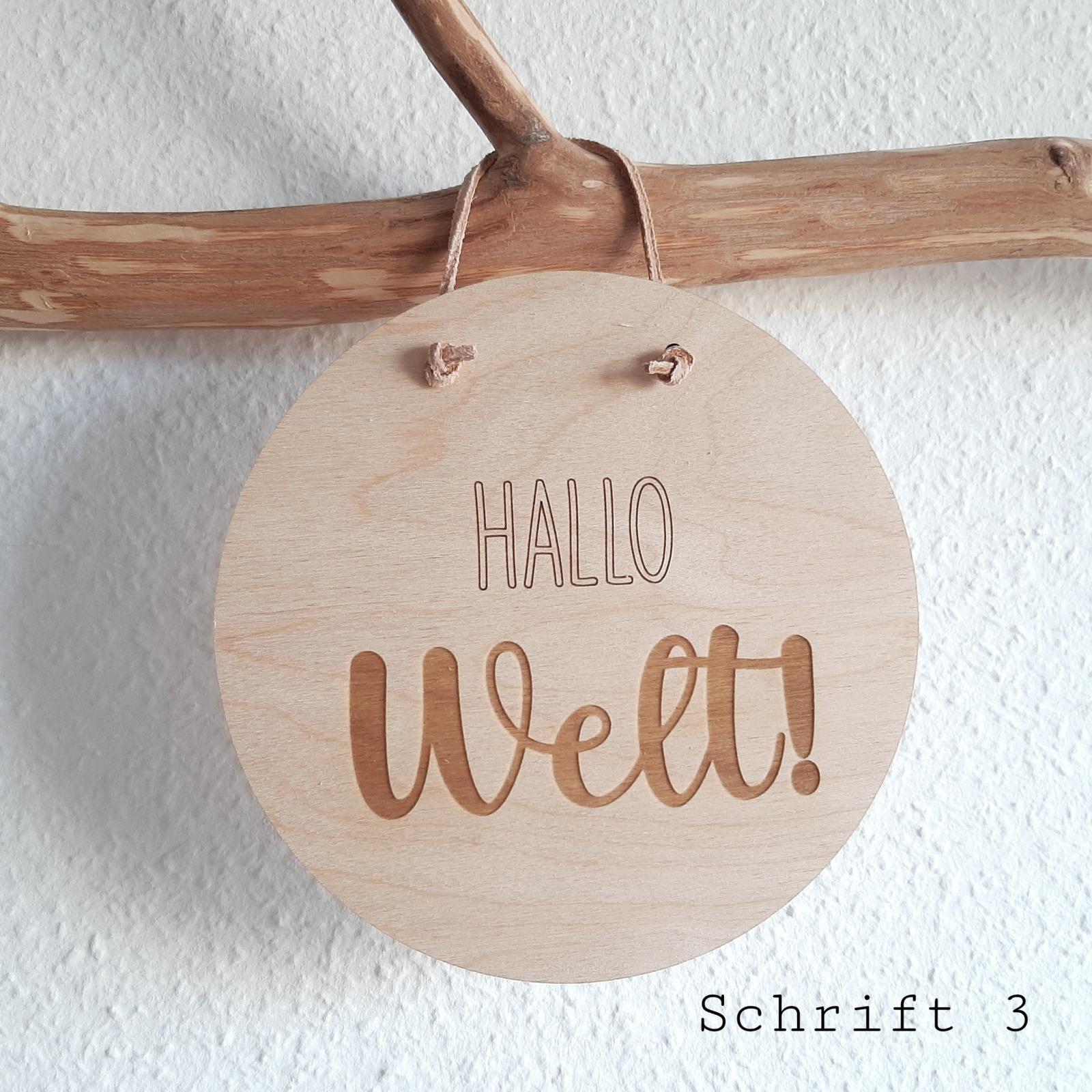 Holzschild Hallo Welt 9