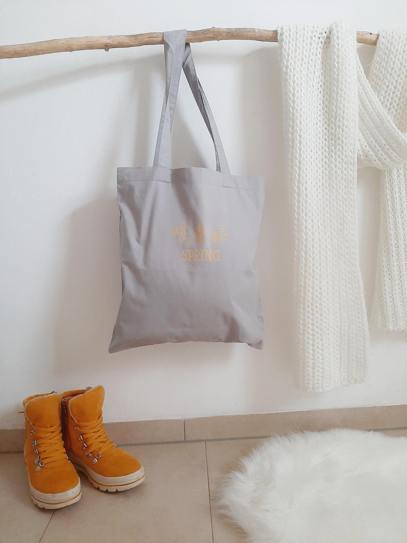Stofftasche mit Blumen & Wunschtext Aufdruck