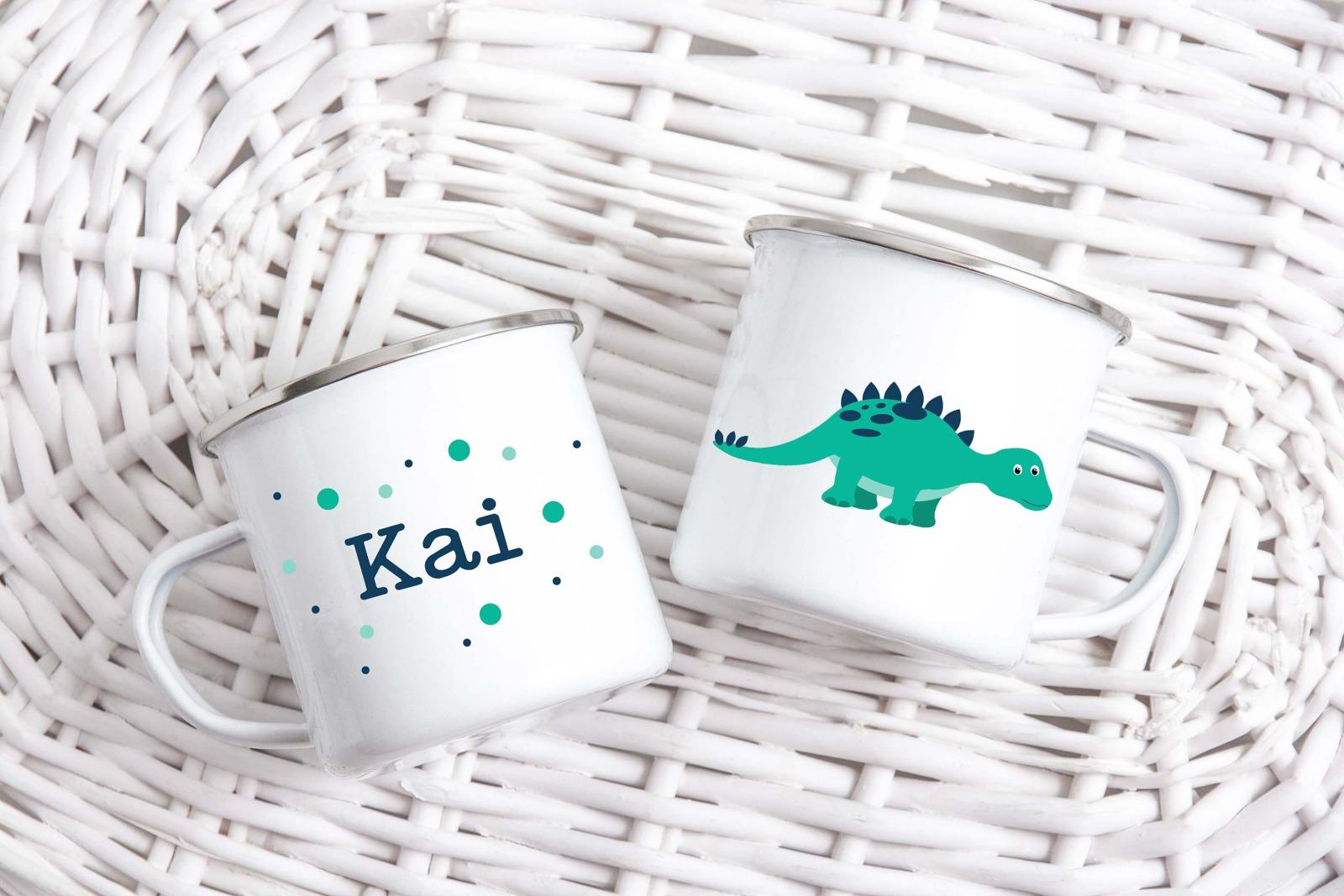 Tasse Dinosaurier-Look personalisiert mit Wunschname