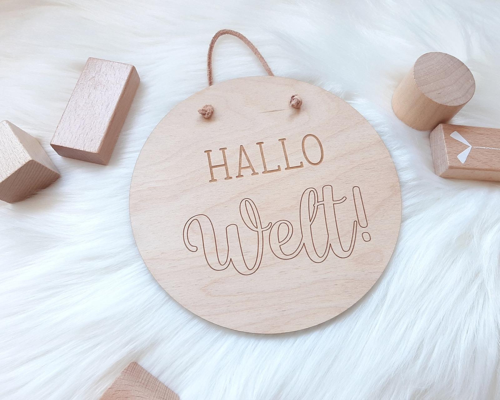 Holzschild Hallo Welt