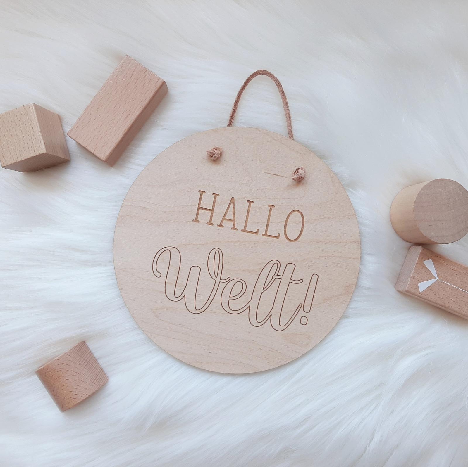 Holzschild Hallo Welt 6