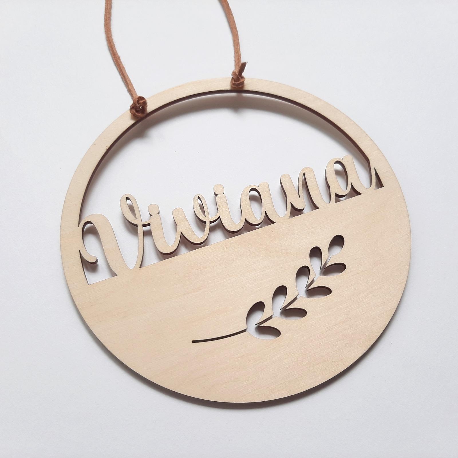 Namensschild mit Motive aus Holz 3