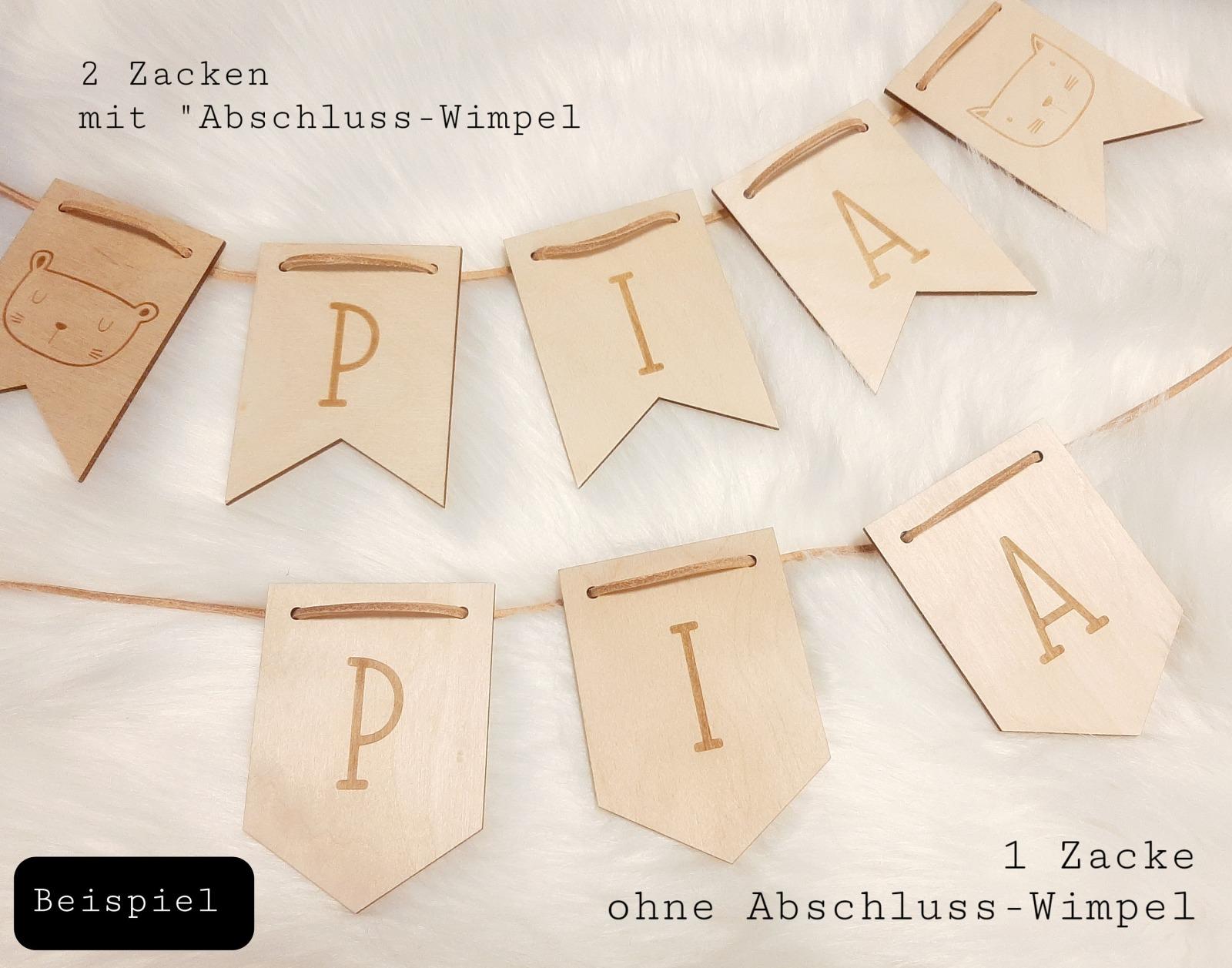 Wimpel Girlande personalisiert aus Holz 2