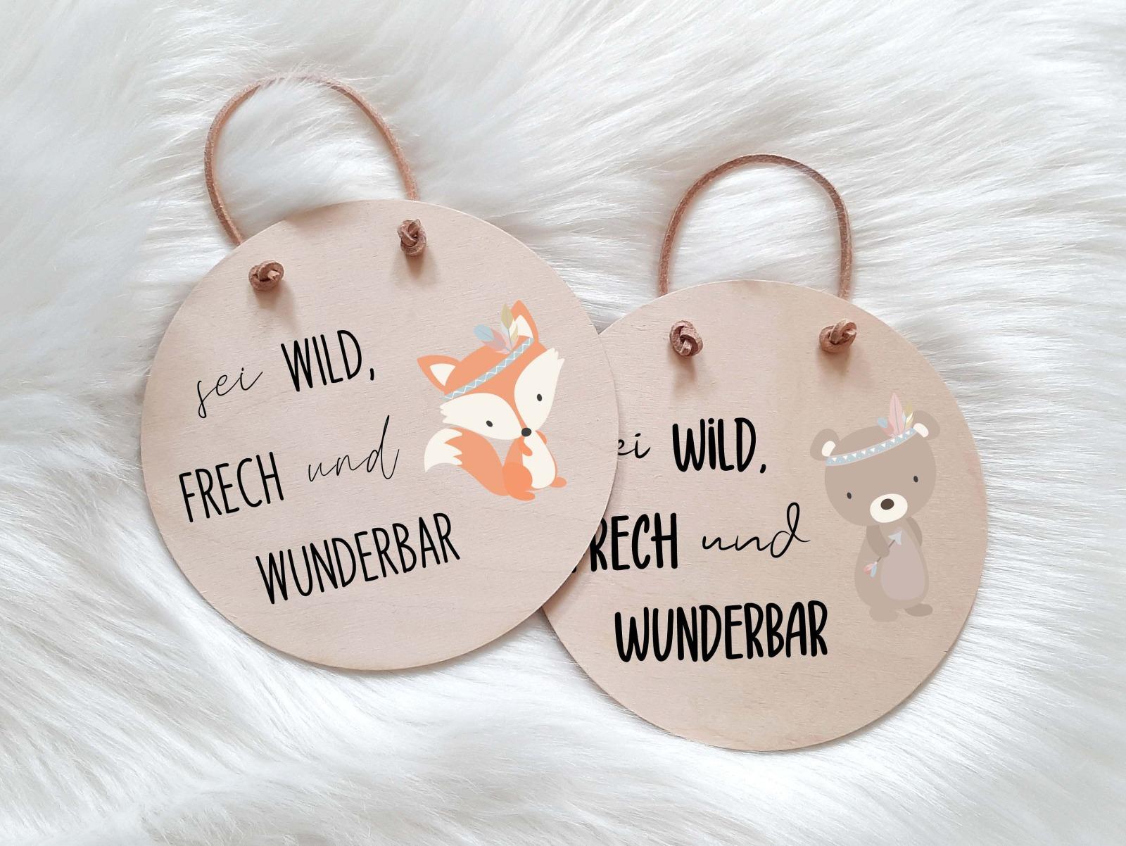 Holzschild mit Spruch und Tier