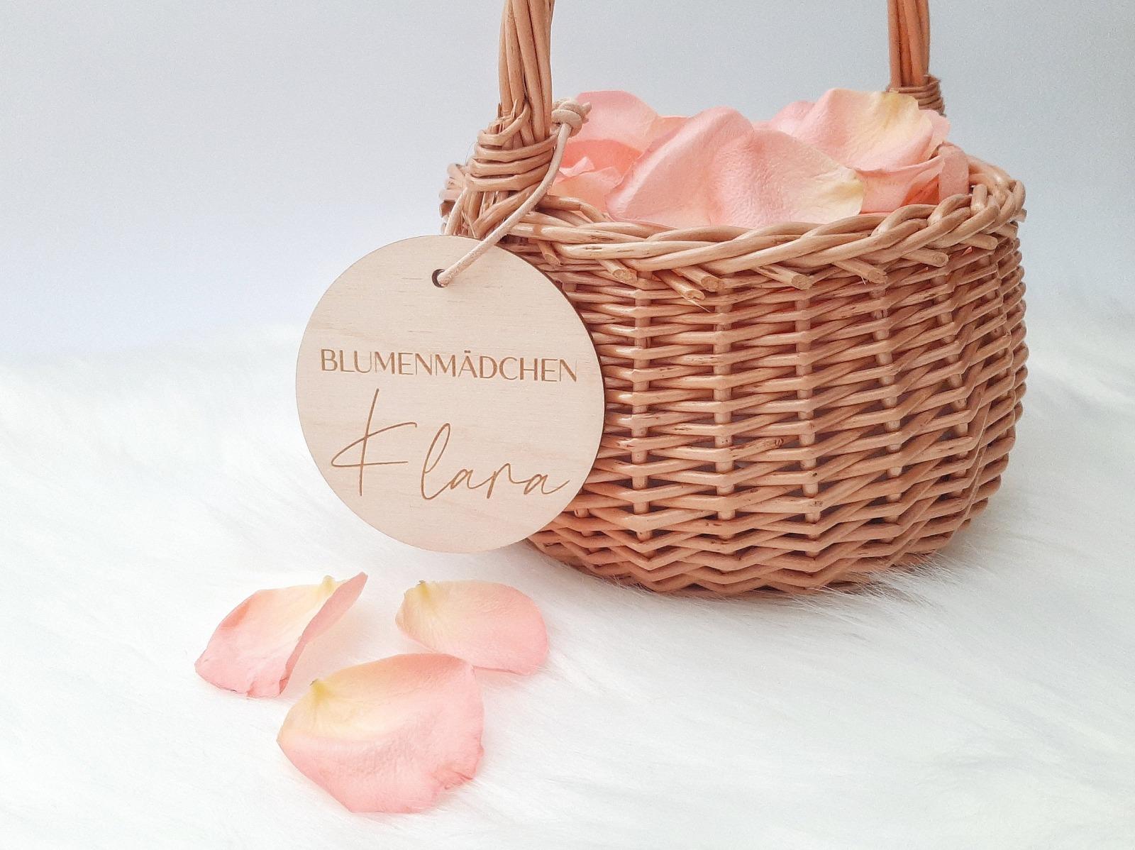 Korb für Blumenkinder mit Namen Anhänger