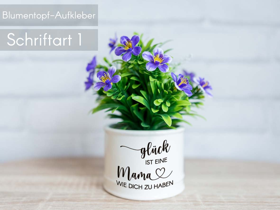 Blumentopf Glück Aufkleber