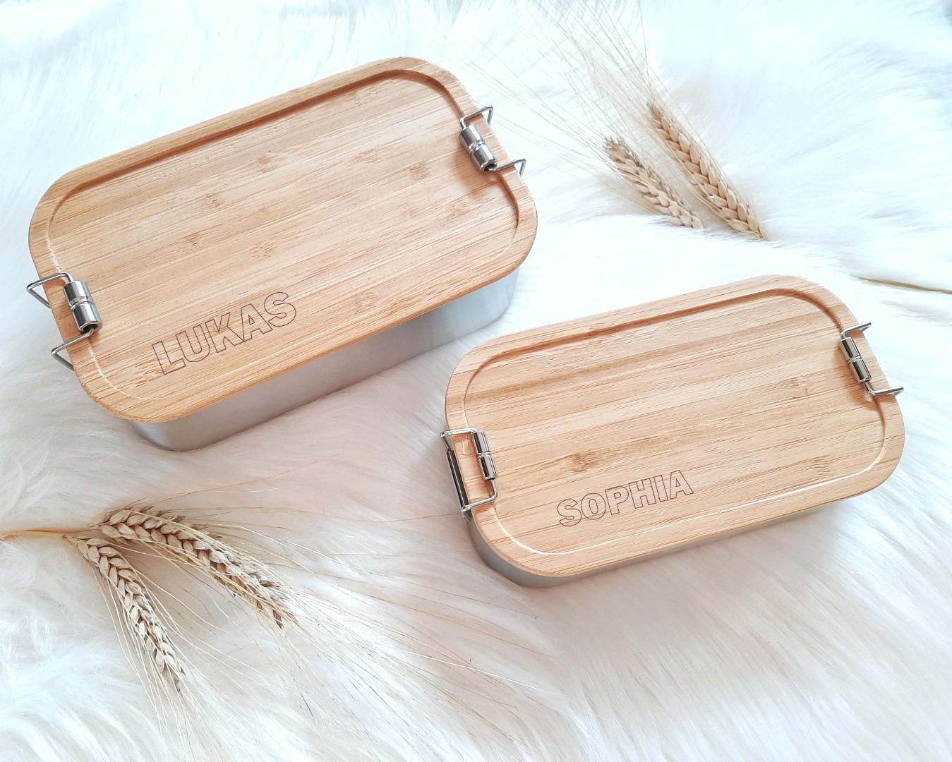 Bambus Lunchbox personalisiert minimalitisch 9