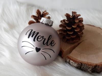 Haustier Aufkleber für Weihnachtskugel Personalisierter Schriftzug