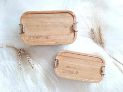 Bambus Lunchbox personalisiert minimalitisch Vesperbox mit