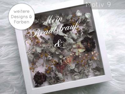 Bilderrahmen Weiß Brautstrauß mit Schriftzug Designs