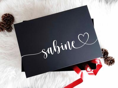 Geschenkbox mit Name und Widmung Innen