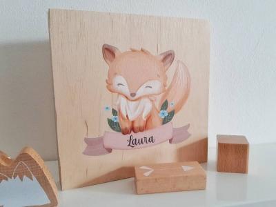 Tier-Bild mit Kindernamen personalisiert Holz Bild
