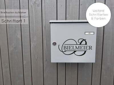 Briefkasten Namensschild Aufkleber Monogramm mit Name