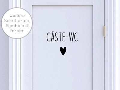 Türschild Gäste-WC mit Symbol Symbole: Herz