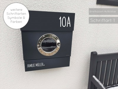 Briefkasten Namensschild Aufkleber Name mit Hausnummer