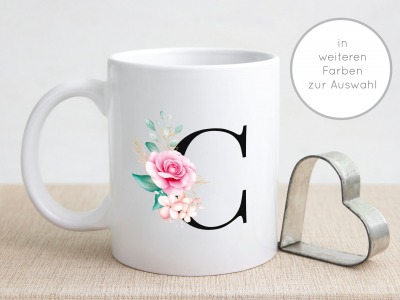 Buchstabentasse Kaffee-Tasse mit Pink-Flower Buchstabe Namenstasse