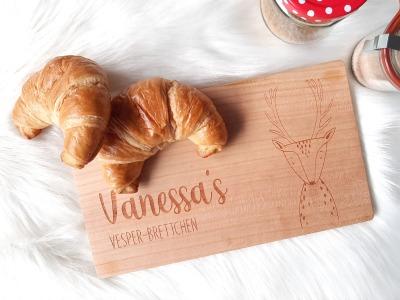 Frühstücksbrettchen Tier-Motiv mit Namen Spruch Vesperbrettchen