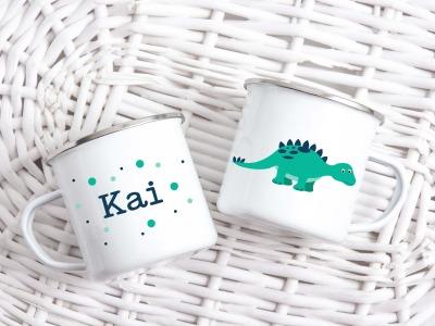 Tasse Dinosaurier-Look personalisiert mit Wunschname süße
