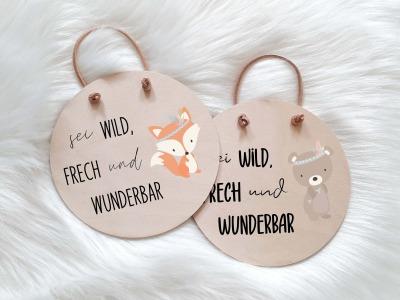 Holzschild mit Spruch und Tier Sei