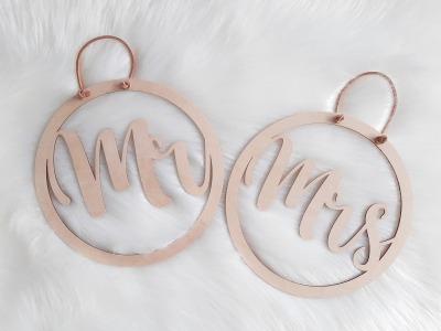 Mrs Mr Hochzeitsdeko verschiedene Größen Holzring
