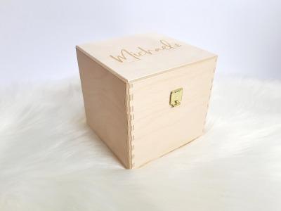 Geschenkbox Würfel mit Gravur und Deckel